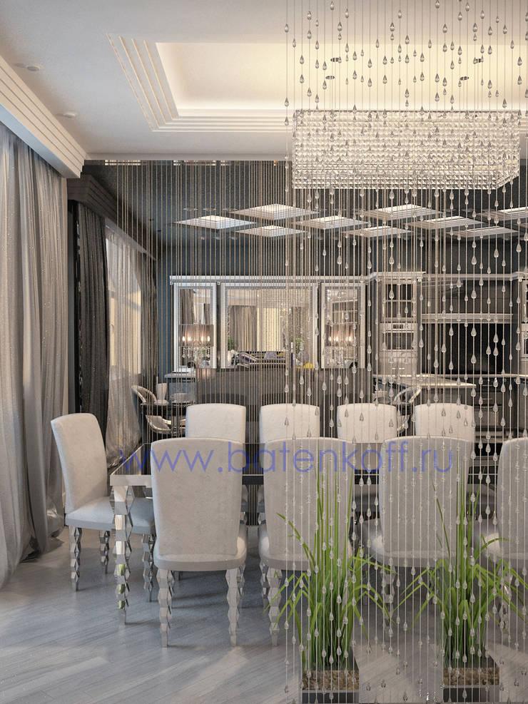 Дизайн проект кухни столовой с биокамином в стиле ардеко: Столовые комнаты в . Автор – Дизайн студия 'Дизайнер интерьера № 1'