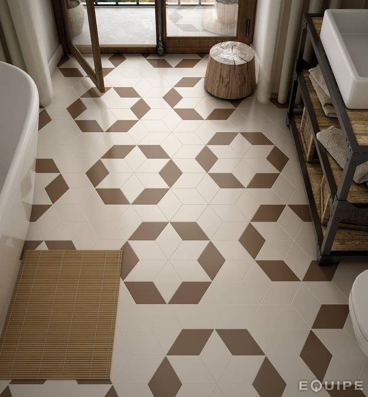Rhombus Smooth Cream, Taupe 14x24: Pasillos y vestíbulos de estilo  de Equipe Ceramicas, Rústico