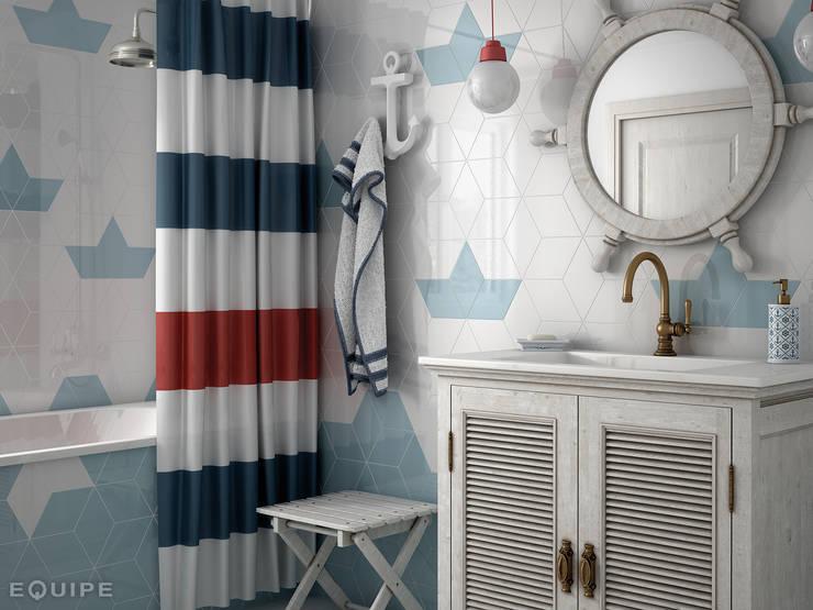 Rhombus WALL White, Ash Blue 15,2x26,3: Baños de estilo  de Equipe Ceramicas