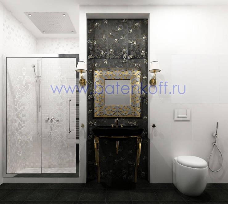 Дизайн проект ванной комнаты  и туалета в стиле ардеко в квартире: Ванные комнаты в . Автор – Дизайн студия 'Дизайнер интерьера № 1',
