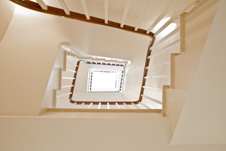 Entrance, Hall and Staircase at the Chelsea House in Westbourne Grove.:  Corridor & hallway by Nash Baker Architects Ltd