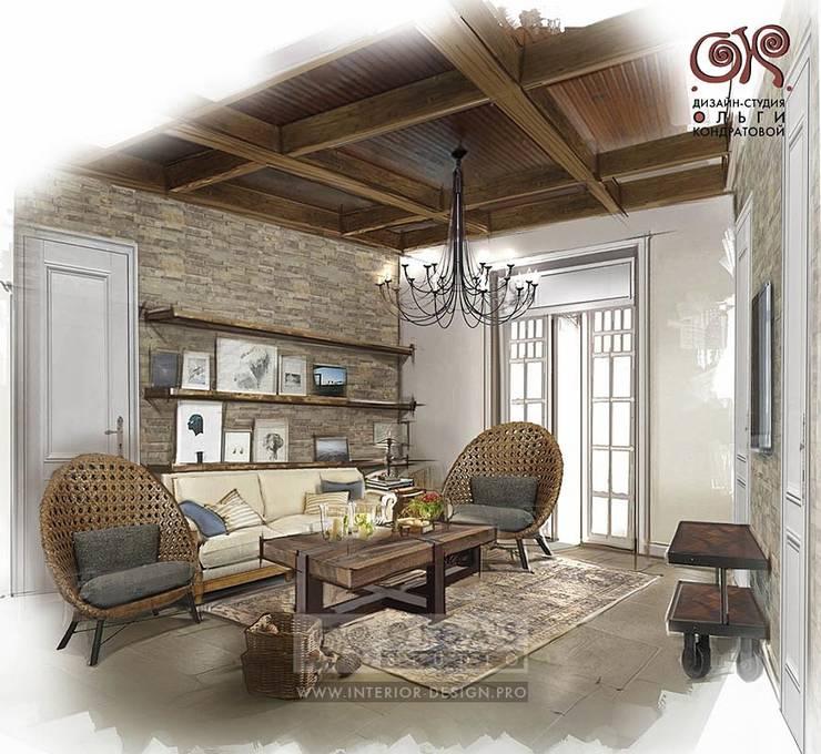 Дизайн гостиной в стиле кантри: Гостиная в . Автор – Olga's Studio