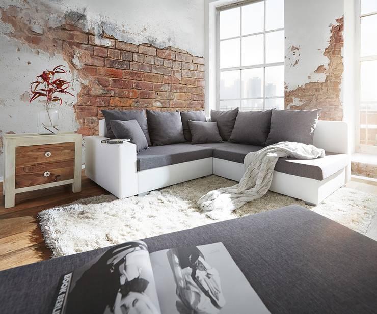 Ecksofa Lavello 210x210 cm Weiss Grau Sofa mit Hocker: moderne Wohnzimmer von DELIFE