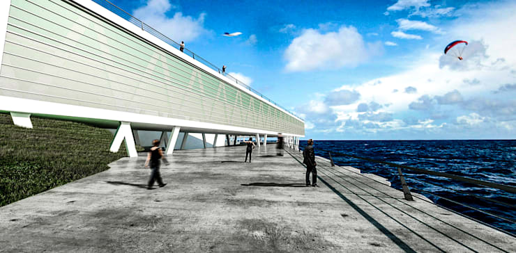 Centro Cultural en Bahia Playa Chica Balcones y terrazas modernos: Ideas, imágenes y decoración de Estudio 26 Moderno