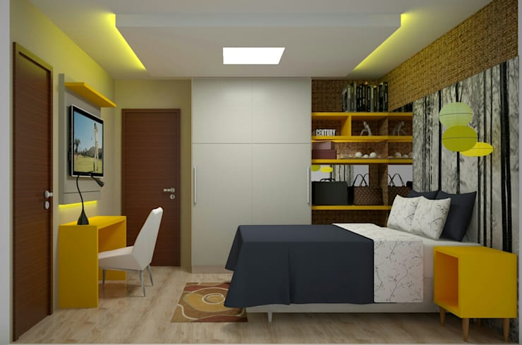 Quarto Casal Jovem: Quartos  por Duecad - Arquitetura e Interiores