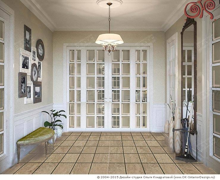 Дизайн холла на первом этаже дома в стиле прованс: Коридор и прихожая в . Автор – Дизайн студия Ольги Кондратовой,