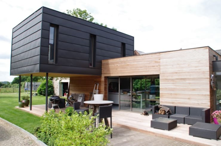 facade est et nord : Maisons de style de style Moderne par Atelier d'Architecture Marc Lafagne,  architecte dplg