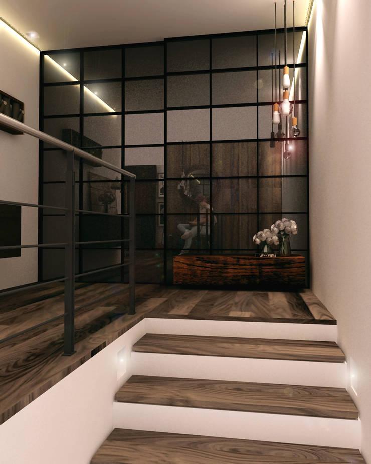 Departamento BM: Pasillos y recibidores de estilo  por Taller 03