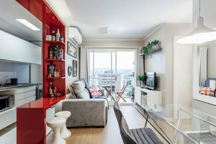 APTO OS - CAMAQUÃ / PORTO ALEGRE: Salas de estar modernas por Ambientta Arquitetura