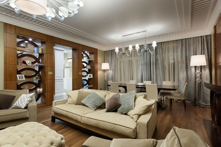 Projekty,  Salon zaprojektowane przez Студия дизайна интерьера 'Юдин и Новиков'