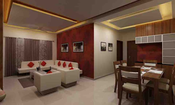 3BHK Interior Flat @Pune:  Living room by SkyGreen Interior