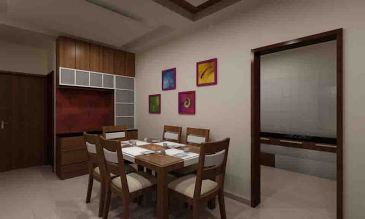 3BHK Interior Flat @Pune:  Dining room by SkyGreen Interior