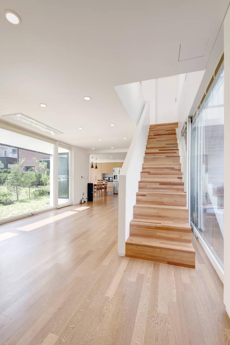 One Roof House: mlnp architects의  복도 & 현관,모던