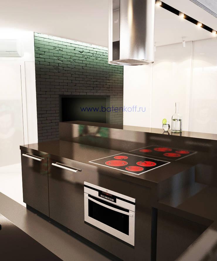 Дизайн проект Гостиной кухни прихожей в маленькой квартире в стиле лофт в г. Москва: Кухни в . Автор – Дизайн студия 'Дизайнер интерьера № 1'