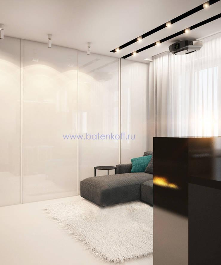 Дизайн проект Гостиной кухни прихожей в маленькой квартире в стиле лофт в г. Москва: Гостиная в . Автор – Дизайн студия 'Дизайнер интерьера № 1'