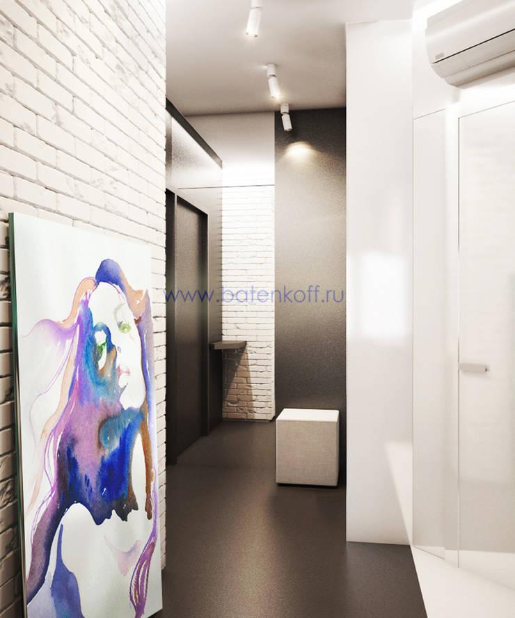 Дизайн проект Гостиной кухни прихожей в маленькой квартире в стиле лофт в г. Москва: Коридор и прихожая в . Автор – Дизайн студия 'Дизайнер интерьера № 1'