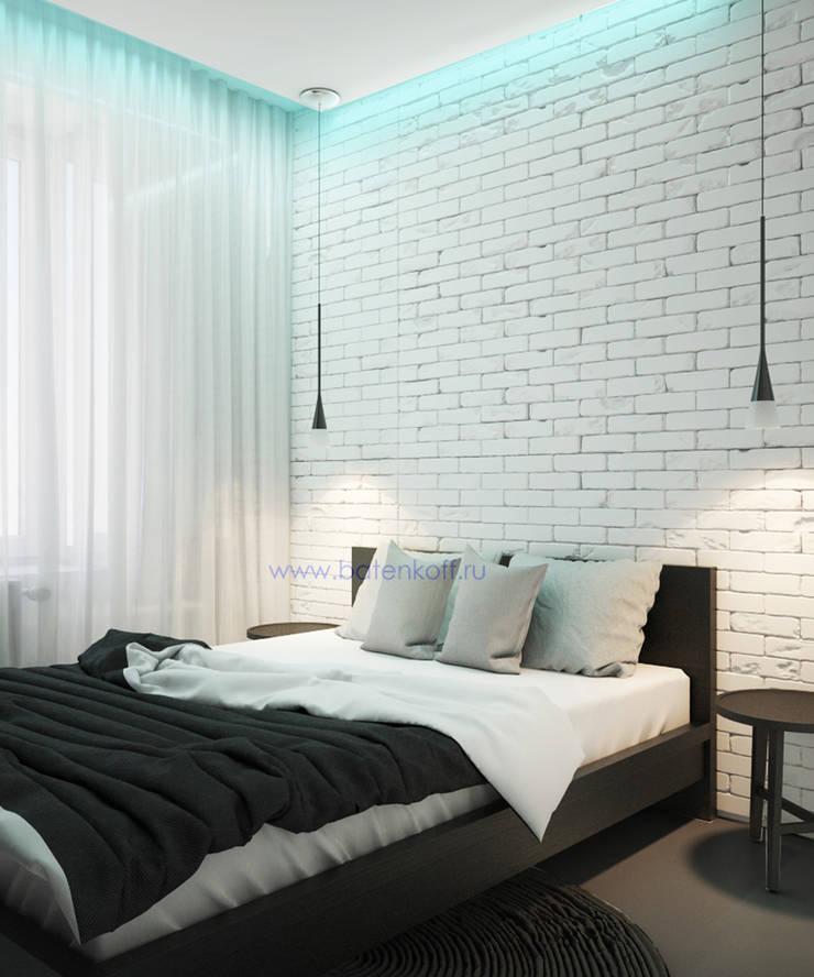 Дизайн проект спальни в квартире в стиле лофт в Москве : Спальни в . Автор – Дизайн студия 'Дизайнер интерьера № 1',