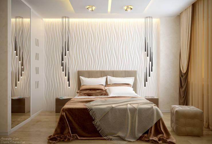 """Дизайн спальни в современном стиле в ЖК """"Солнечный"""": Спальни в . Автор – Студия интерьерного дизайна happy.design"""