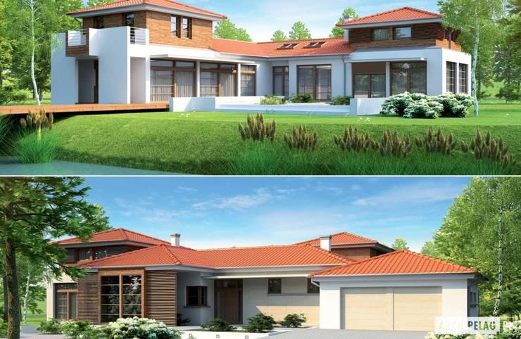 Projekt domu Dionizy (mały) G2 : styl , w kategorii Domy zaprojektowany przez Pracownia Projektowa ARCHIPELAG,Śródziemnomorski