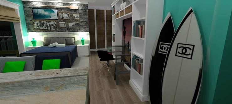 Estúdio Surfista: Quartos  por RS Design Studio