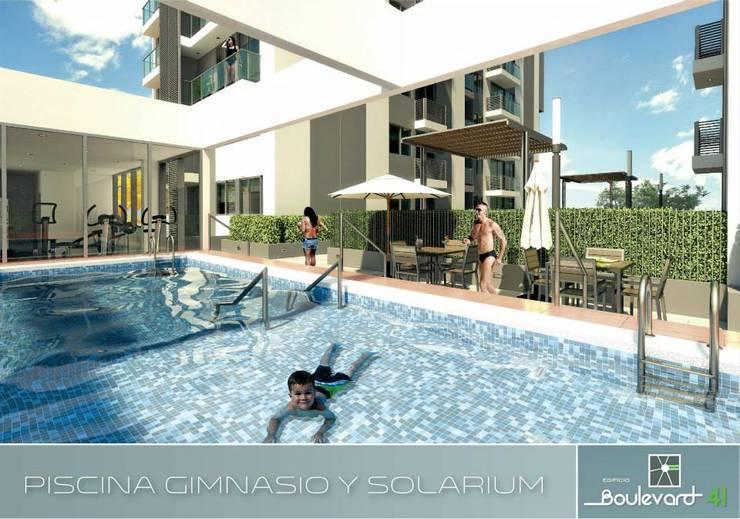 zona social, piscinas de adulto y niños. Gimnacio.: Piscinas de estilo  por Oleb Arquitectura & Interiorismo, Moderno