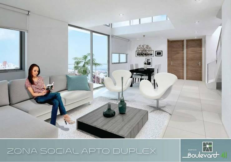 Apartamento tipo Duplex: Salas de estilo moderno por Oleb Arquitectura & Interiorismo