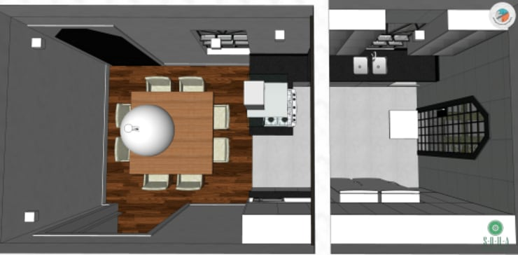 Casa Jardim paulistano projeto cozinha integrada:   por Bel e Tef Atelier da Reforma