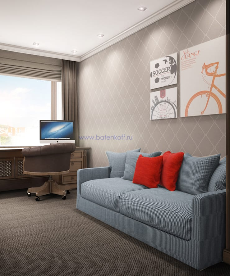 Москва. Дизайн комнаты для подростка в Химках: Детские комнаты в . Автор – Дизайн студия 'Дизайнер интерьера № 1',