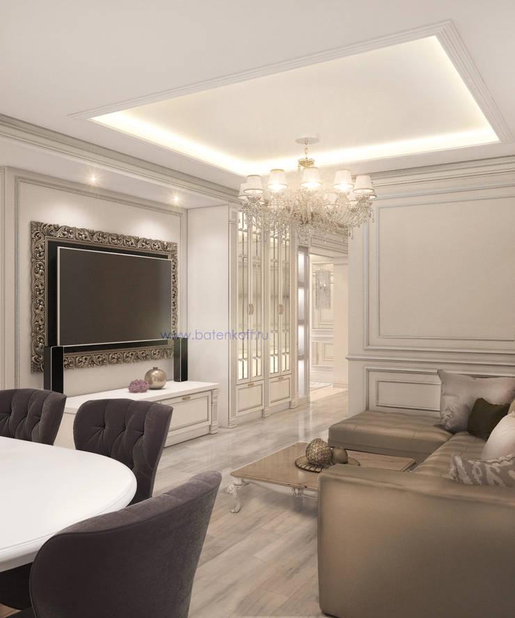 Москва. Дизайн проект классической гостиной кухни столовой в квартире в Химках.: Гостиная в . Автор – Дизайн студия 'Дизайнер интерьера № 1',