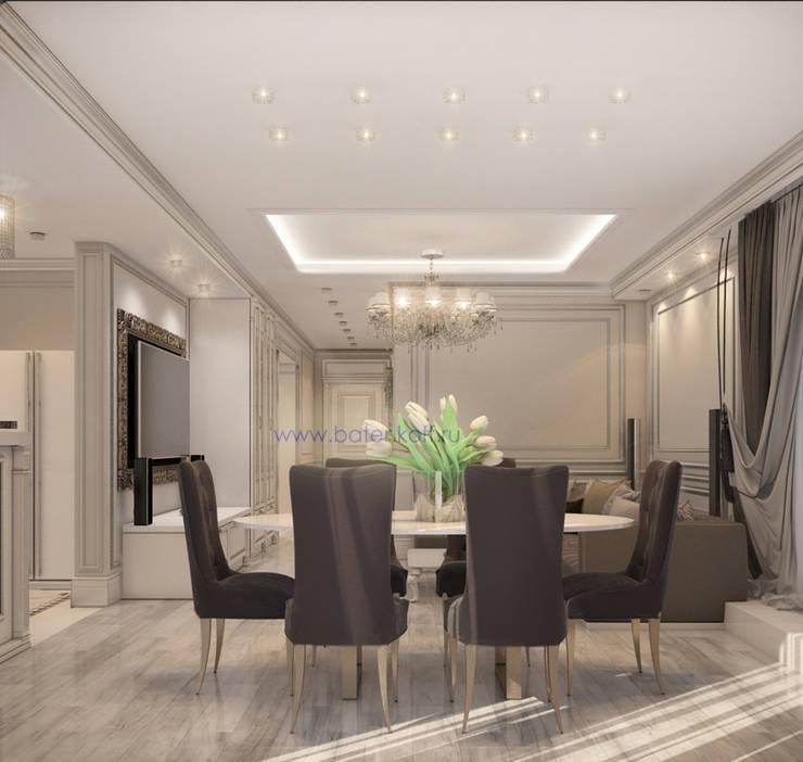 Москва. Дизайн проект классической гостиной кухни столовой в квартире в Химках.: Столовые комнаты в . Автор – Дизайн студия 'Дизайнер интерьера № 1',