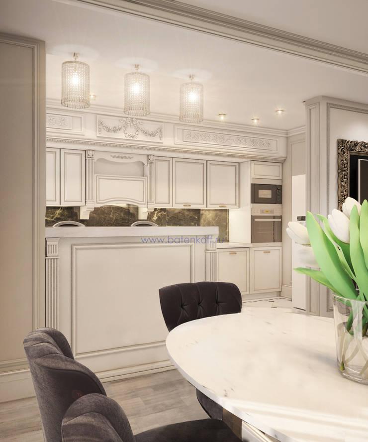 Москва. Дизайн проект классической гостиной кухни столовой в квартире в Химках.: Кухни в . Автор – Дизайн студия 'Дизайнер интерьера № 1',