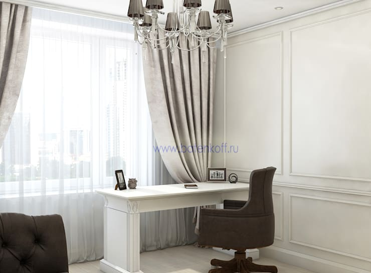 Дизайн проект кабинета гостевой в квартире в Химках. Москва: Рабочие кабинеты в . Автор – Дизайн студия 'Дизайнер интерьера № 1',