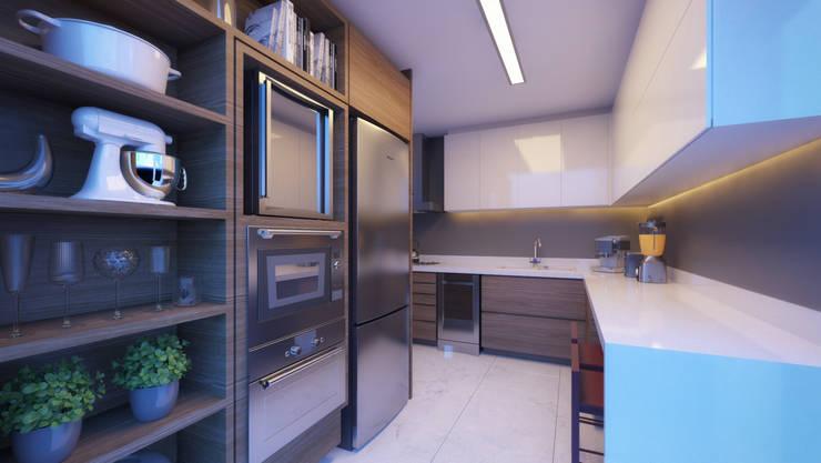 APTO DF: Cozinhas modernas por AF Arquitetura
