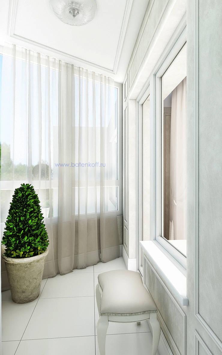 Дизайн проект балкона в квартире в Химках. Москва: Tерраса в . Автор – Дизайн студия 'Дизайнер интерьера № 1',