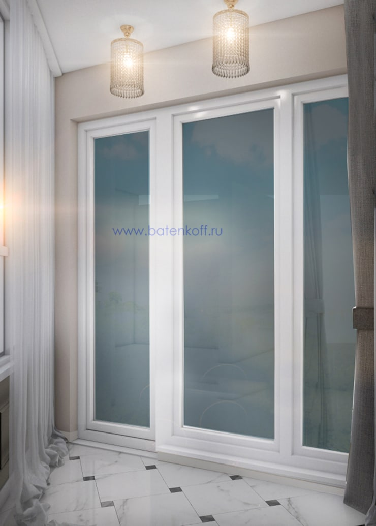 Дизайн проект террасы в квартире в Химках. Москва: Tерраса в . Автор – Дизайн студия 'Дизайнер интерьера № 1',