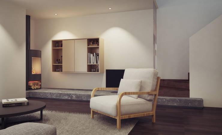 Apartamento em Gondizalves, Braga: Salas de estar  por ASVS Arquitectos Associados