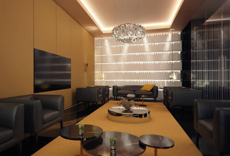 Interiores do 'Mezzanine Floor', African Union Grand Hotel, Adis Abeba, Etiópia: Bares e clubes  por ASVS Arquitectos Associados