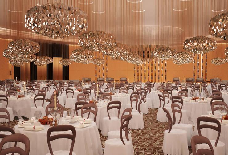 Interiores do 'Mezzanine Floor', African Union Grand Hotel, Adis Abeba, Etiópia: Espaços de restauração  por ASVS Arquitectos Associados
