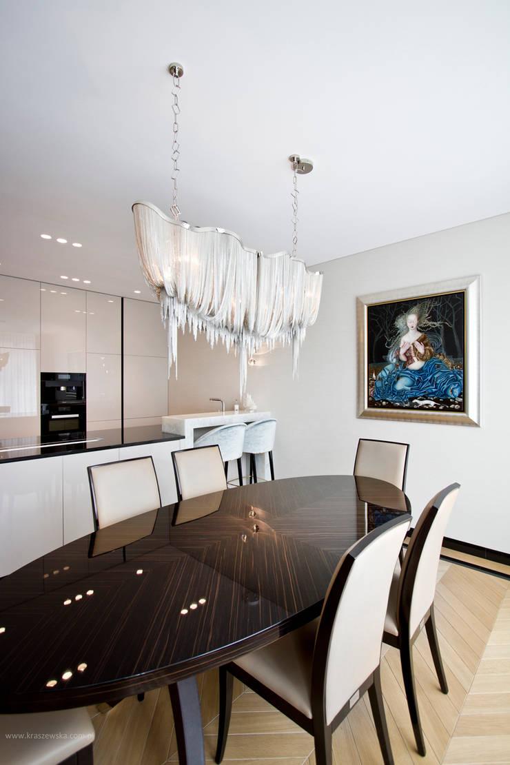 Projekt Apartamentu: styl , w kategorii Jadalnia zaprojektowany przez Katarzyna Kraszewska Architektura Wnętrz
