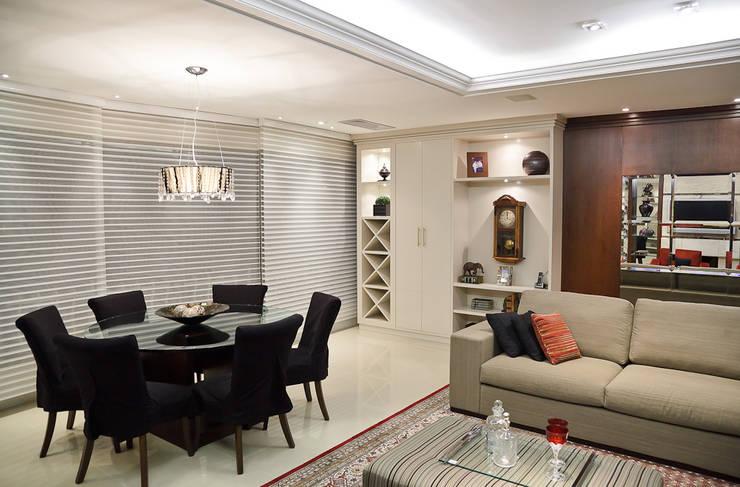 ESTAR | JANTAR – APARTAMENTO RIO BRANCO: Sala de jantar  por Ana Levy | Arquitetura + Interiores ,