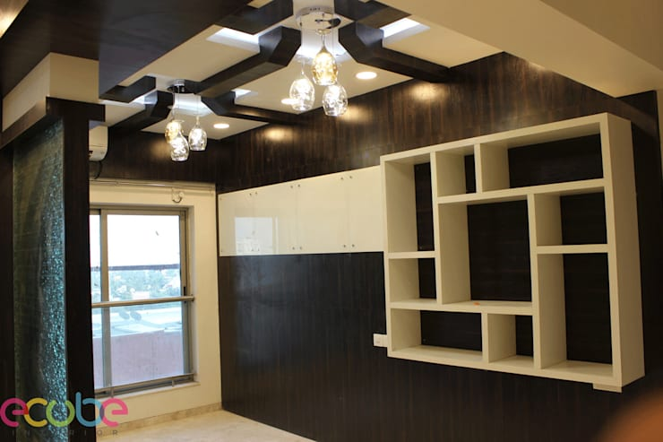Residential Appartment @ Phoenix Market city—Chennai:  Dining room by ECUBE INTERIOR SOLUTIONS PVT LTD,Country Plywood