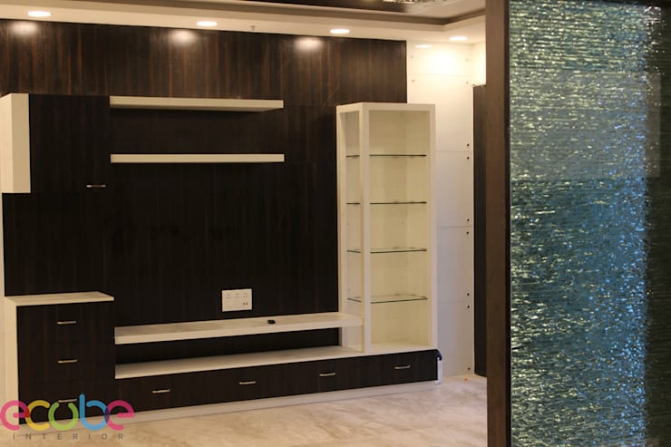Residential Appartment @ Phoenix Market city—Chennai:  Media room by ECUBE INTERIOR SOLUTIONS PVT LTD,Country Plywood