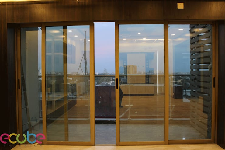 Residential Appartment @ Phoenix Market city—Chennai:  Terrace by ECUBE INTERIOR SOLUTIONS PVT LTD,Country Aluminium/Zinc