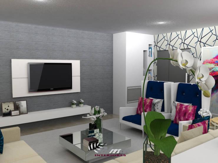 Habitação Unifamiliar: Sala de estar  por Palma Interiores
