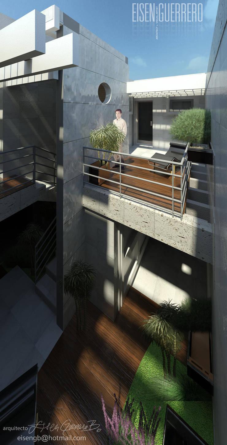 Vista Aérea al solárium, pérgola y terraza piso 1. Vivienda Nº11. Mañongo 2014 - 2015.: Terrazas de estilo  por Eisen Arquitecto