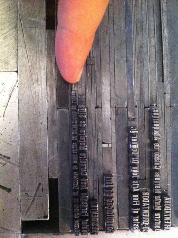 Detalhe da composição com caracteres móveis:   por Tipografia Dias