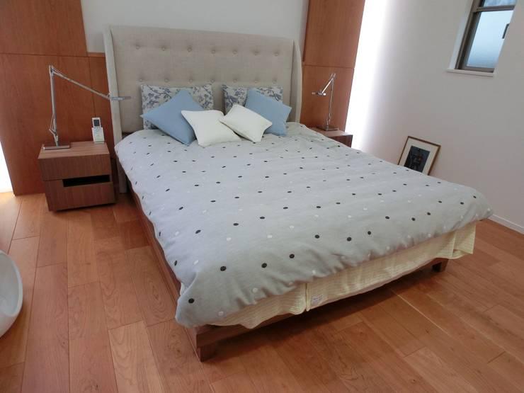 Full-Ordered Double-size Bed+Headbord: (株)工房スタンリーズが手掛けた寝室です。,