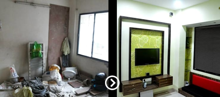 Living room before after 1:   by ARETE studio