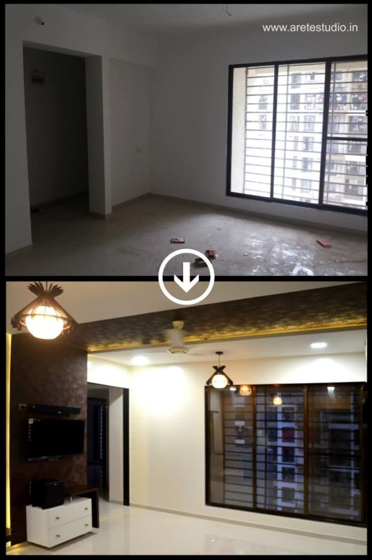 Living room before after 3:   by ARETE studio