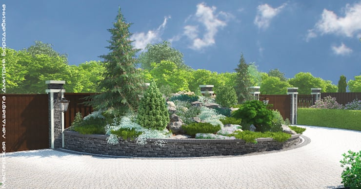 Въездная зона для маленького участка: Сады в . Автор – Мастерская ландшафта Дмитрия Бородавкина,